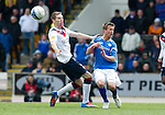 St Johnstone v Rangers....13.05.12   SPL.Chris Millar collides with Kirk Broadfoot.Picture by Graeme Hart..Copyright Perthshire Picture Agency.Tel: 01738 623350  Mobile: 07990 594431