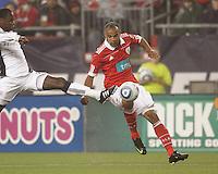 New England Revolution midfielder Joseph Niouky (23) on defense. SL Benfica  defeated New England Revolution, 4-0, at Gillette Stadium on May 19, 2010.