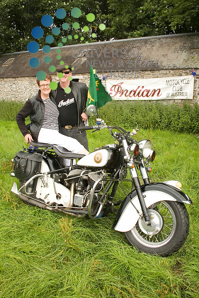 Old Indians Never Die Motorcycle Rally, Traquair House, Innerleithen, Scotland..Seen here is a 1952 ex California Police High Patrol bike, owned by Phillip White, formerly of Perth, Scotland seen here with his wife Dorothy both now live in Melbourne, Australia and at the rally as part of the Indian Motorcycle Club of Australia.Picture by Jim Carroll, taken 24/07/09