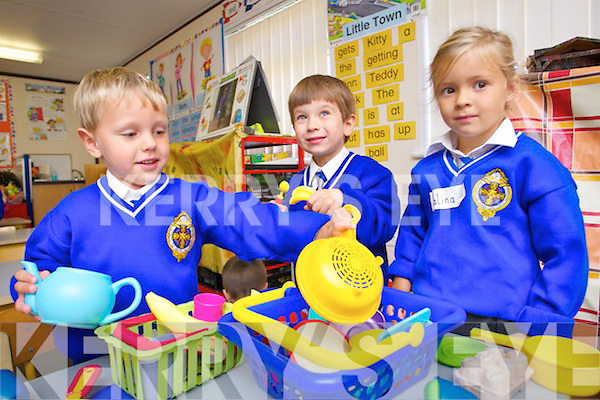Emir Reka, Tim Goreanskil and Kalina Lemanska pictured at CBS primary school on Tuesday morning.