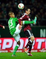 FUSSBALL   1. BUNDESLIGA    SAISON 2012/2013    17. Spieltag   SV Werder Bremen - 1. FC Nuernberg                     16.12.2012 Theodor Gebre Selassie (li, SV Werder Bremen) gegen Markus Feulner (re, 1 FC Nuernberg)