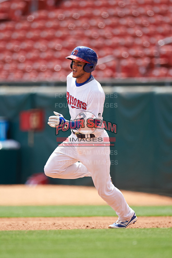 Buffalo Bisons catcher A.J. Jimenez (2) during a game against the Toledo Mudhens on May 18, 2016 at Coca-Cola Field in Buffalo, New York.  Buffalo defeated Toledo 7-5.  (Mike Janes/Four Seam Images)