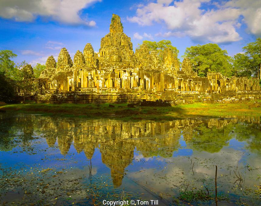 Bayon Temple Reflection, City of Angkor Thom, Built 1100-1200 AD, Angkor Watt Archeological Park, Cambodia