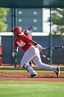 Cincinnati Reds Raul Wallace (47) during an instructional league game against the Cleveland Indians on October 17, 2015 at the Goodyear Ballpark Complex in Goodyear, Arizona.  (Mike Janes/Four Seam Images)