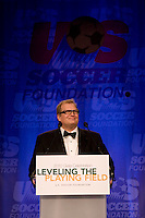 Event Emcee Drew Carey welcomes the assembled crowd to the US Soccer Foundation Gala held at City Center in Washington, DC.