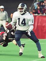Rickey Foggie Toronto Argonauts quarterback 1991. Copyright photograph Scott Grant