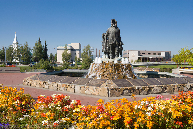 Golden Heart Plaza in downtown Fairbanks, Alaska. First family statue.