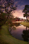 Jodo-shiki garden, Jodoshiki teien, Pure Land garden with a pond in front of the Phoenix Hall, Amida hall of Byodo-in Buddhist temple. Beautiful sunset scenery. Uji, Kyoto Prefecture, Japan 2017