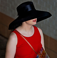LOUISVILLE, KY - MAY 04: A woman wears a fancy black hat on Kentucky Oaks Day at Churchill Downs on May 4, 2018 in Louisville, Kentucky. (Photo by Scott Serio/Eclipse Sportswire/Getty Images)