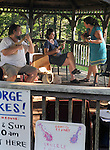 Kathryn Para, giving free Ukulele lessons in the Gazebo, on the 2nd day of the 4th Annual Summer Hoot Festival held at the Ashokan Center, Olivebridge, NY, on Saturday, August 27, 2016. Photo by Jim Peppler; Copyright Jim Peppler 2016.