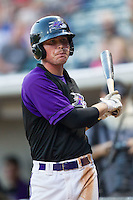 Jake Peter (14) of the Winston-Salem Dash waits for his turn to hit during the game against the Lynchburg Hillcats at BB&T Ballpark on August 13, 2014 in Winston-Salem, North Carolina.  The Hillcats defeated the Dash 4-3.   (Brian Westerholt/Four Seam Images)