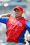 30 May 2011: Philadelphia Phillies catcher Carlos Ruiz warms up prior to facing the Washington Nationals at Nationals Park in Washington, District of Columbia. The Phillies defeated the Nationals 5-4 to take the first game of their 3-game series. Mandatory Credit: Ed Wolfstein Photo