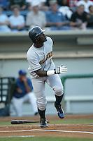 Elijah Dukes of the Bakersfield Blaze bats during a 2004 season California League game against the Rancho Cucamonga Quakes in Rancho Cucamonga, California. (Larry Goren/Four Seam Images)