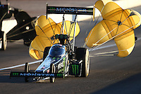 Oct 31, 2015; Las Vegas, NV, USA; NHRA top fuel driver Brittany Force during qualifying for the Toyota Nationals at The Strip at Las Vegas Motor Speedway. Mandatory Credit: Mark J. Rebilas-USA TODAY Sports