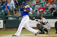 Round Rock Express outfielder Joey Butler #16 follows through during the Pacific Coast League baseball game against the Fresno Grizzlies on May 19, 2012 at The Dell Diamond in Round Rock, Texas. The Grizzlies defeated the Express 10-4. (Andrew Woolley/Four Seam Images)