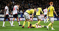 Bolton Wanderers' Lloyd Dyer and Yanic Wildschut in despair as Blackburn Rovers' Darragh Lenihan and Richard Smallwood celebrate victory at the final whistle<br /> <br /> Photographer Andrew Kearns/CameraSport<br /> <br /> The EFL Sky Bet Championship - Bolton Wanderers v Blackburn Rovers - Saturday 6th October 2018 - University of Bolton Stadium - Bolton<br /> <br /> World Copyright © 2018 CameraSport. All rights reserved. 43 Linden Ave. Countesthorpe. Leicester. England. LE8 5PG - Tel: +44 (0) 116 277 4147 - admin@camerasport.com - www.camerasport.com
