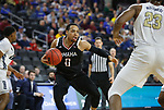 SIOUX FALLS, SD - MARCH 8: JT Gibson #0 of the Nebraska-Omaha Mavericks drives to the basket against the Nebraska-Omaha Mavericks at the 2020 Summit League Basketball Championship in Sioux Falls, SD. (Photo by Richard Carlson/Inertia)
