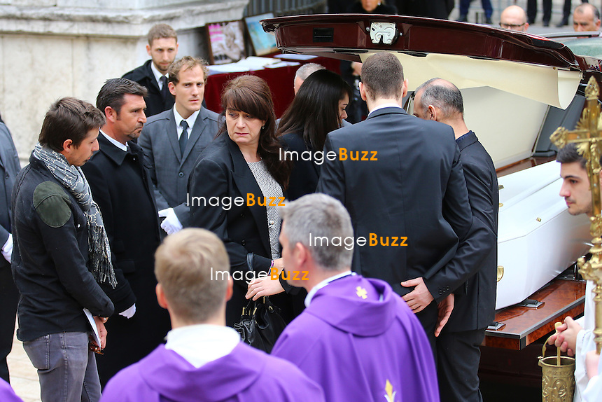 March 25, 2015 - Nice, FRANCE - Funerals of the French swimming champion Camille Muffat, dead in a tragic helicopter crash in Argentina, during the filming if TV reality show Dropped. <br /> The religious ceremony takes place in the Saint Jean-Baptiste le Vœu church, in Nice, southern France, with the family, Guy Muffat, the father, Laurence the mother, Chlo&eacute;, the sister and her boyfriend William. Many anonymous and celebrities also attend the ceremony.