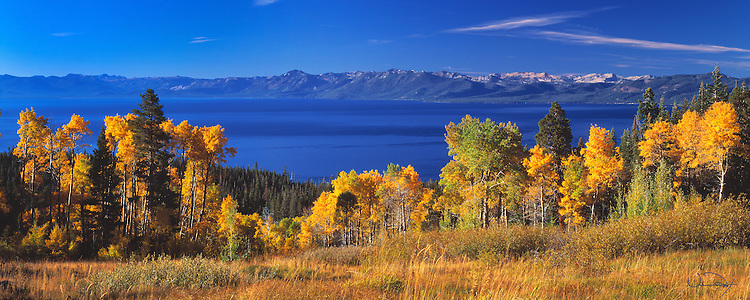Lake Tahoe Landscape Fall Colors Panorama