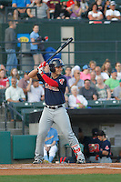 Salem Red Sox first baseman Nick Longhi (21) at bat during a game against the Myrtle Beach Pelicans at Ticketreturn.com Field at Pelicans Ballpark on April 29, 2016 in Myrtle Beach, South Carolina. Salem defeated Myrtle Beach 4-3. (Robert Gurganus/Four Seam Images)