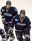 Evan Richardson (UConn - 19), Shawn Pauly (UConn - 9) - The Boston College Eagles defeated the visiting University of Connecticut Huskies 3-2 on Saturday, January 24, 2015, at Kelley Rink in Conte Forum in Chestnut Hill, Massachusetts.