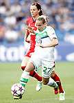 VfL Wolfsburg's Isabel Kerschowski (r) and Olympique Lyonnais's Lotta Schelin during UEFA Women's Champions League 2015/2016 Final match.May 26,2016. (ALTERPHOTOS/Acero)
