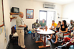 Adam Tuller, founder of the Africa Conservation Trust, speaks to members of Ashoka's Kenya office about his innovative coral reef regeneration project off the coast of Mombassa, Kenya
