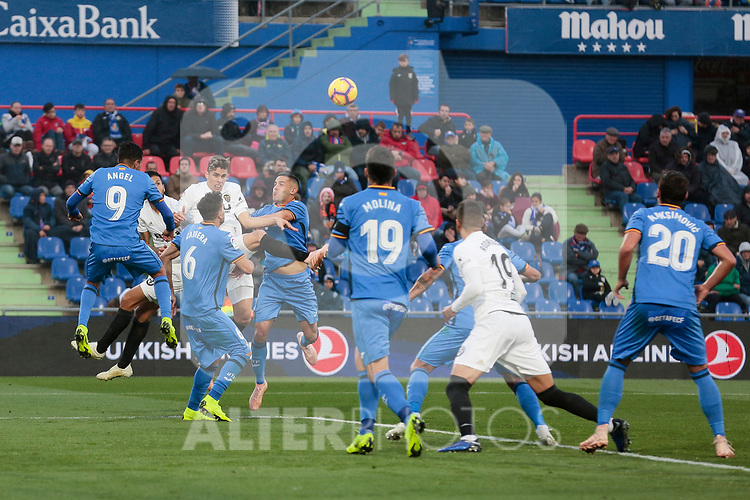 Getafe CF's players during La Liga match between Getafe CF and Valencia CF at Coliseum Alfonso Perez in Getafe, Spain. November 10, 2018.