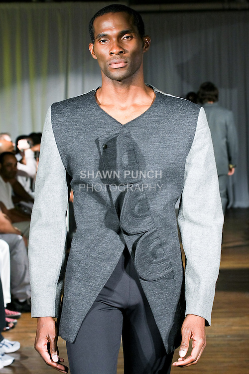 Model walks the runway in a Ray Vincente outfit, during the Ray Vincente Menswear Showcase 2010 fashion show at Chacala Loft on June 18, 2010.