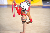 Filipa Siderova-Semionova of Georgia performs with hoop at 2010 Holon Grand Prix at Holon, Israel on September 3, 2010.  (Photo by Tom Theobald).