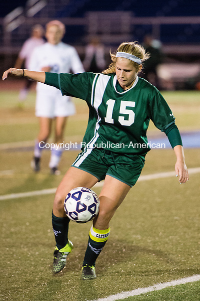 MIDDLETOWN, CT - 16 November 2015-111615EC02-- Holy Cross' Kylie Rice maneuvers the ball against Old Lyme in Middletown Monday night. Erin Covey Republican-American.