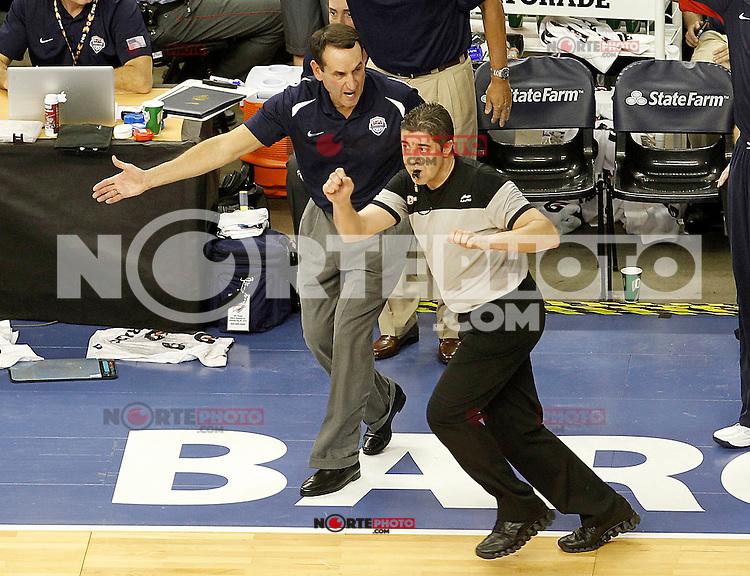USA's coach Mike Krzyzewski have words with the referee during friendly match.July 22,2012. (ALTERPHOTOS/Acero) /NortePhoto.com*2012-07-22<br /> **CREDITO*OBLIGATORIO** <br /> *No*Venta*A*Terceros*<br /> *No*Sale*So*third*<br /> *** No Se Permite Hacer Archivo**