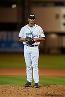 Lakeland Flying Tigers relief pitcher Alfred Gutierrez (28) looks in for the sign during a game against the Tampa Tarpons on April 5, 2018 at Publix Field at Joker Marchant Stadium in Lakeland, Florida.  Tampa defeated Lakeland 4-2.  (Mike Janes/Four Seam Images)