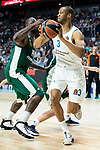 Real Madrid Anthony Randolph and Panathinaikos James Gist during Turkish Airlines Euroleague Quarter Finals 3rd match between Real Madrid and Panathinaikos at Wizink Center in Madrid, Spain. April 25, 2018. (ALTERPHOTOS/Borja B.Hojas)
