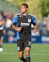 Ryan Johnson of Earthquakes in action during the game against the Crew at Buck Shaw Stadium in Santa Clara, California on June 2nd, 2010.  San Jose Earthquakes tied Columbus Crew, 2-2.