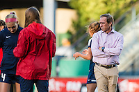 Seattle, Washington -  Sunday, September 11 2016: Washington Spirit head coach Jim Gabarra watches his team warm up prior to a regular season National Women's Soccer League (NWSL) match between the Seattle Reign FC and the Washington Spirit at Memorial Stadium. Seattle won 2-0.