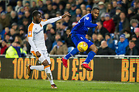 Fikayo Tomori of Hull City and Junior Hoilett of Cardiff City during the Sky Bet Championship match between Cardiff City and Hull City at the Cardiff City Stadium, Cardiff, Wales on 16 December 2017. Photo by Mark  Hawkins / PRiME Media Images.