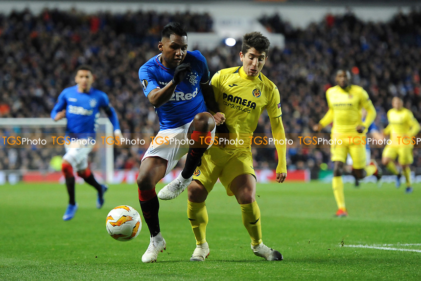 Alfredo Morelos of Rangers battles for the ball with Santiago Caseres of Villarreal CF during Rangers vs Villarreal CF, UEFA Europa League Football at Ibrox Stadium on 29th November 2018