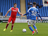 Fleetwood Town's Bobby Grant shapes up to take on Peterborough United's Andrea Borg<br /> <br /> Photographer David Shipman/CameraSport<br /> <br /> The EFL Sky Bet League One - Peterborough United v Fleetwood Town - Friday 14th April 2016 - ABAX Stadium  - Peterborough<br /> <br /> World Copyright &copy; 2017 CameraSport. All rights reserved. 43 Linden Ave. Countesthorpe. Leicester. England. LE8 5PG - Tel: +44 (0) 116 277 4147 - admin@camerasport.com - www.camerasport.com