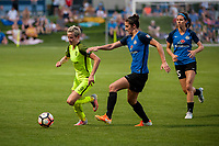 Kansas City, MO - Saturday June 17, 2017: Jess Fishlock, Yael Averbuch, Erika Tymrak during a regular season National Women's Soccer League (NWSL) match between FC Kansas City and the Seattle Reign FC at Children's Mercy Victory Field.