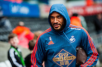 Ashley Williams of Swansea City  arrives at the Liberty Stadium the Barclays Premier League match between Swansea City and Southampton  played at the Liberty Stadium, Swansea  on February 13th 2016