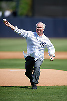 Tampa mayor Bob Buckhorn throws out the ceremonial first pitch before a New York Yankees Grapefruit League Spring Training game against the Toronto Blue Jays on February 25, 2019 at George M. Steinbrenner Field in Tampa, Florida.  Yankees defeated the Blue Jays 3-0.  (Mike Janes/Four Seam Images)