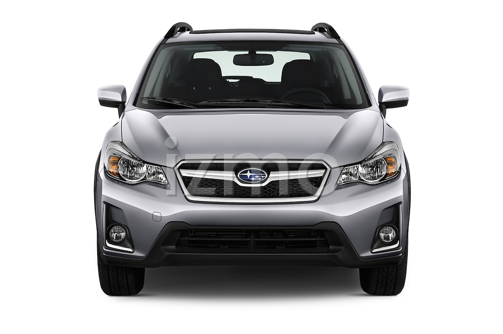 Car photography straight front view of a 2016 Subaru Crosstrek 2.0i Premium CVT 5 Door SUV Front View