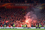 14.09.2017, Emirates Stadium, London, GER, Europa League, Arsenal London vs 1. FC Koeln, im Bild<br /> <br /> Fans Koeln mit Pyrotechnik / Bengalos<br /> <br /> <br /> Foto &copy; nordphoto / Treese