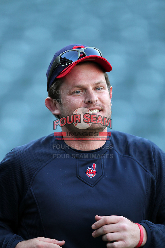 Austin Kearns #26 of the Cleveland Indians before game against the Los Angeles Angels at Angel Stadium in Anaheim,California on April 11, 2011. Photo by Larry Goren/Four Seam Images