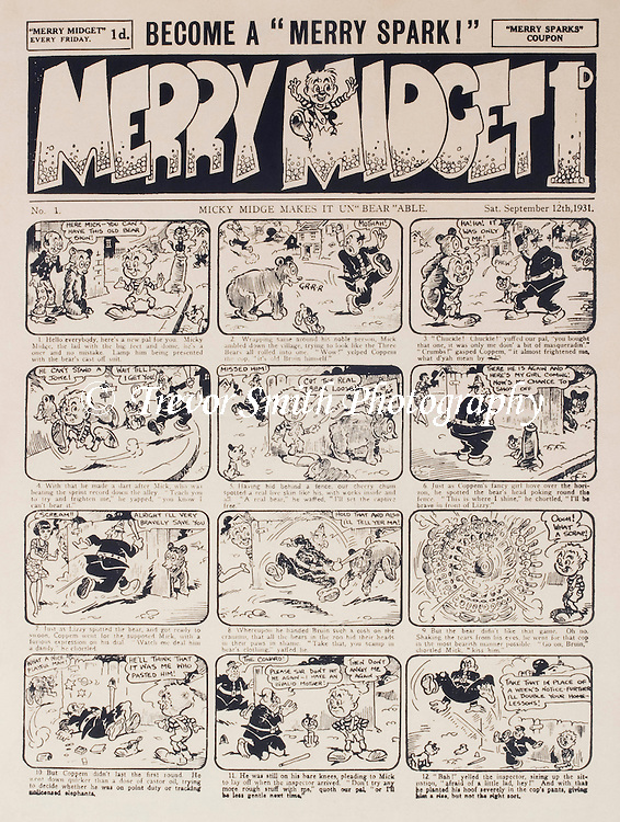 Front page of the Merry Midget children's comic published 12th September 1931 priced 1 penny