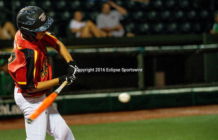 ABERDEEN, MD - AUGUST 01: Gabriel Rosica #17 of Bel Air (MD) swings for Bel Air (MD) during a game between Pacific Southwest and Maryland during the Cal Ripken World Series at The Ripken Experience Powered by Under Armour on August 1, 2016 in Aberdeen, Maryland. (Photo by Ripken Baseball/Eclipse Sportswire/Getty Images)