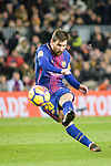 Lionel Messi of FC Barcelona attempts a kick during the La Liga 2017-18 match between FC Barcelona and Deportivo La Coruna at Camp Nou Stadium on 17 December 2017 in Barcelona, Spain. Photo by Vicens Gimenez / Power Sport Images