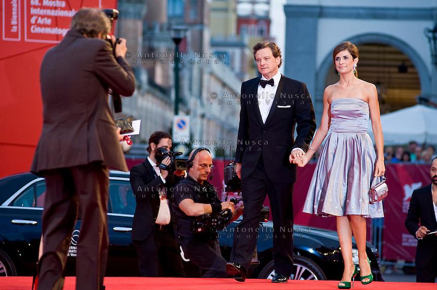 Actor Colin Firth and Livia Giuggioli attend 'Tinker, Tailor, Soldier, Spy' Premiere at the 68th Venice Film Festival