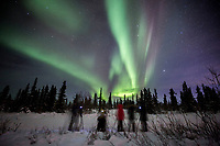 Participants on a Private custom winter night-sky and landscape photography tour view the Northern Lights / Aurora over Cleary summit area north of Fairbanks, AK<br /> <br /> Photo by Jeff Schultz/SchultzPhoto.com  (C) 2016  ALL RIGHTS RESVERVED
